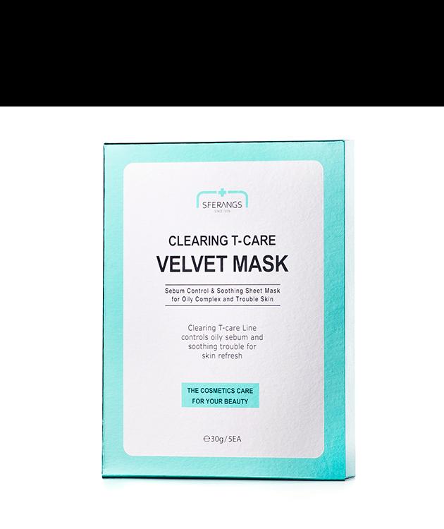 Очищающая тканевая маска Clearing Т-care Velvet 30 гр * 5 шт